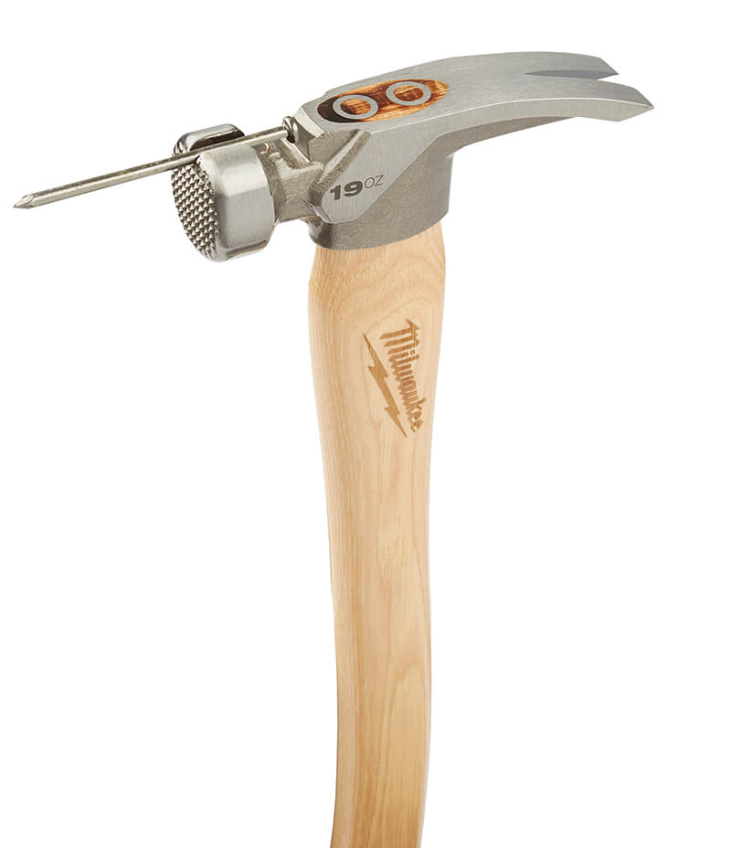 hammer with a slot in the head holding a nail