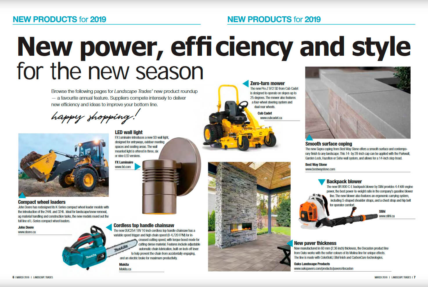pages of a magazine showing new products