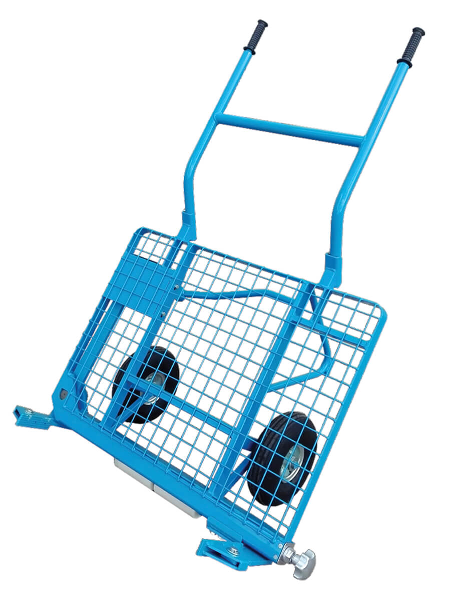 blue wire cart with wheels