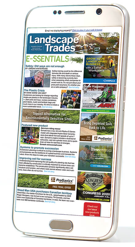 smartphone with LT essentials newsletter
